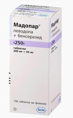 Мадопар 250, 200 мг+50 мг, таблетки, 100 шт.