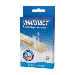 Унипласт лейкопластырь бактерицидный, 1,9 х 7,2 см, пластырь медицинский, влагостойк., 20 шт.
