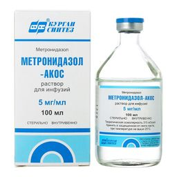 Метронидазол-АКОС, 5 мг/мл, раствор для инфузий, 100 мл, 1 шт.