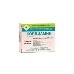 Кордиамин, 250 мг/мл, раствор для инъекций, 1 мл, 10 шт.