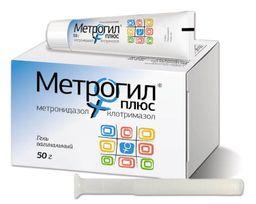 Метрогил Плюс, гель вагинальный, с 10 аппликаторами, 50 г, 1 шт.